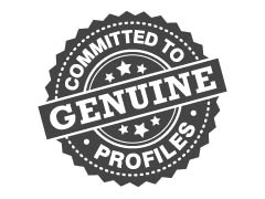 Badge with the words committed to genuine profiles
